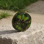 Pendentif rond vert